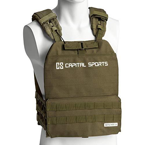 CapitalSports Battlevest 2.0 - Chaleco lastrado, Cintas Velcro, Acolchado, Malla Interior, Cable desenganche rápido, Mango Arrastre, Transpirable, 4 Pesas Acero, 2 x 5,75 lbs, 2 x 8,75 lbs, Verde