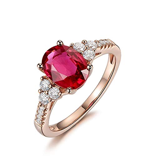 Ubestlove Mens Gold Ring 18Ct Irish Jewellery For Women Rings Red Tourmaline Oval 2.07Ct Diamond 0.25Ct Ring Ladies Gifts O 1/2