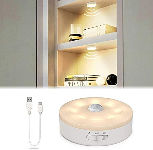 SIBI Licht mit Bewegungsmelder, USB Wiederaufladbar LED Nachtlicht, Überall Aufkleben Bewegungslicht für Treppen, Flur, kleiderschrank, Schrank Beleuchtung, Warmes Weiß 3000K, 1 Pack