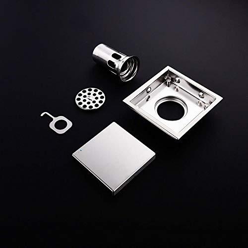 Bodenablauf Platz Deodorant Badezimmer WC Bodenablauf 304 Edelstahl Unsichtbare Bodenablauf (Color : Silver, Size : 110x110mm)