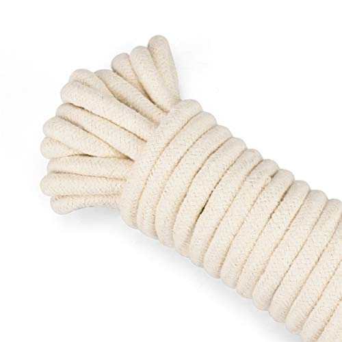 Enenes Craft Rope 8MM Braided Rope Cotton Rope 32 Feet Clothesline All Purpose Braided Cord for DIY Rope Basket/Mat as Candle Replacement Wick Self Watering Rope for Potted Plants (8MM)
