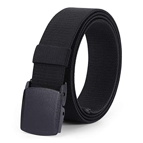 Men's Elastic Stretch Belt, JASGOOD Outdoor Plastic Belt with Removable Buckle Hiking Belt 38mm (Fit up to 44 inches, Black)