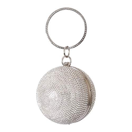 Womens Evening Clutch Bag Designer Evening Handbag Hand Bag,Lady Party Wedding Clutch Purse, Great Gift Choice (Ball Shape Rhinestone -Sliver)
