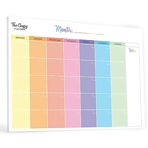 Monthly Planner Pad with 50 Tear Off Pages Notes Section, Undated Calendar...