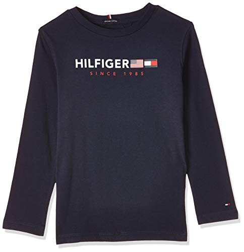 Tommy Hilfiger Jungen Flags Graphic Tee L/S T-Shirt, Blau (Black Iris 002), 164 (Herstellergröße:14)