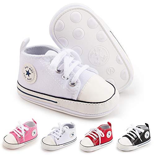 BiBeGoi Bebé Bebé Niños Niñas Zapatillas De Lona De Alta Parte Superior Con Cordones Cuna Casual Zapatos Recién Nacidos Primeros Caminantes Cribster Zapato, B01 Blanco Con Suela De Goma, 6-12 meses