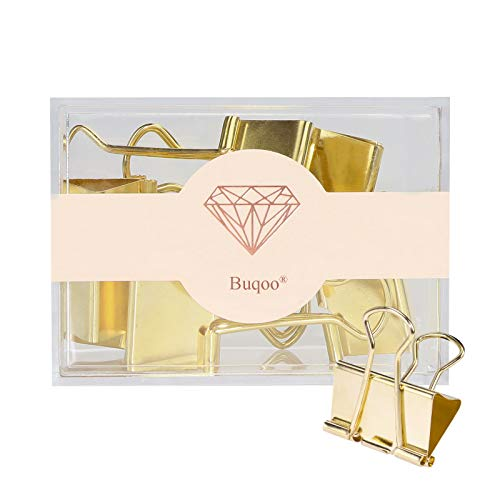 Jumbo Binder Clips Gold 32mm Paper Binder Clamps Stainless Steel Binder Paper Clips for School, Office Supplies, Document Paper Files Organizing (Gold)
