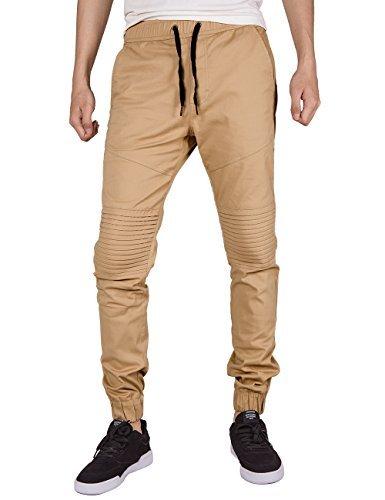 ITALY MORN Pantalones Jogger Chinos Plisado Hombre para el Trabajo Algodón M Caqui