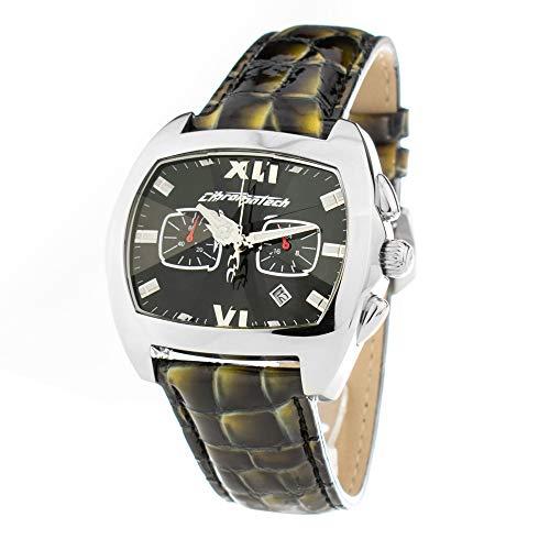 Chronotech Unisex Chronograph Quarz Uhr mit Leder Armband CT.2185G/35