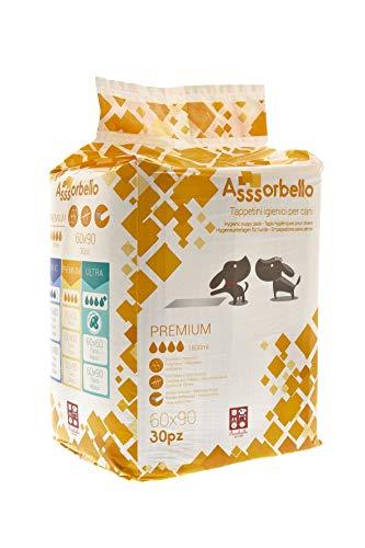 FERRIBIELLA Assorbello PREMIUM, Tappetini Igienici per Cani, 60 x 90 cm, 30 pezzi colore bianco con strisce adesive e attrattivo