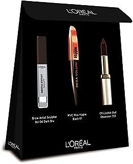 L'Oreal Paris Makeup Set Mvc Miss Hippie Black 01 & Color Riche Lipstick Oud Obsession 703, 112 g, Pack of 1