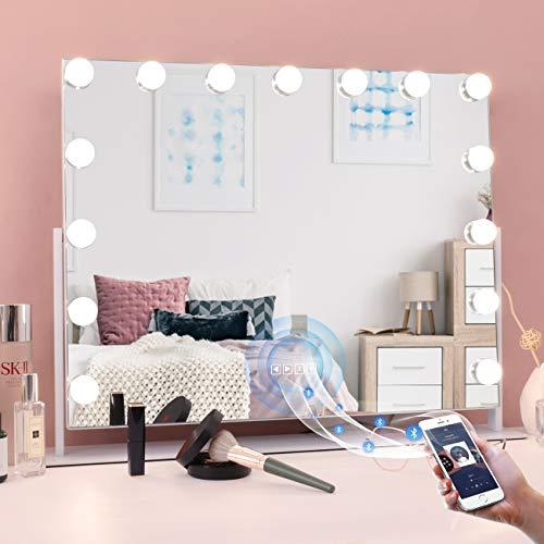 MISAVANITY - Espejo de tocador con Bluetooth y luces, gran Hollywood iluminado espejo de maquillaje con Bluetooth y aumento para mesa,...