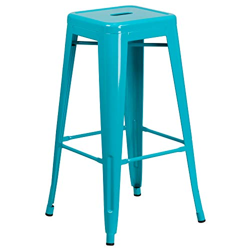 Flash Furniture Commercial Grade 30' High Backless Crystal Teal-Blue Indoor-Outdoor Barstool