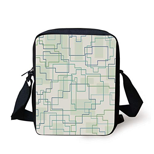 Geometric Decor,Futuristic Design Like a Subway Line with All Routes in Town Pattern,Mint Royal Blue Print Kids Crossbody Messenger Bag Purse