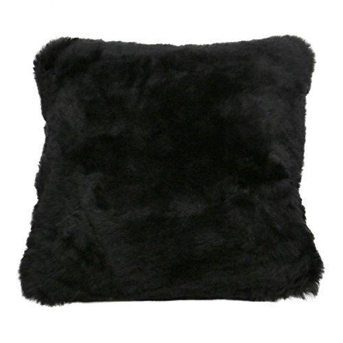 Hollert German Leather Fashion Coussin - Mérinos Tondu 45 X 45 cm Fourrure Véritable Inclusive Coussin Intérieur en Sais - Noir, 45 x 45 cm