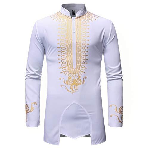 CFWL Herrenhemden UnregelmäßIge Hemden Mit Bronzemustern Herren-Hemd Slim-Fit Kurzarm-Hemden Hemd Langarm Slim-Fit Business Freizeit Hochzeit BüGelleicht Herren-Hemd Weiß XL