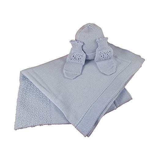 Manta de lana merina para recién nacidos con pajitas y gorro, producto artesanal, fabricado en Italia (azul)