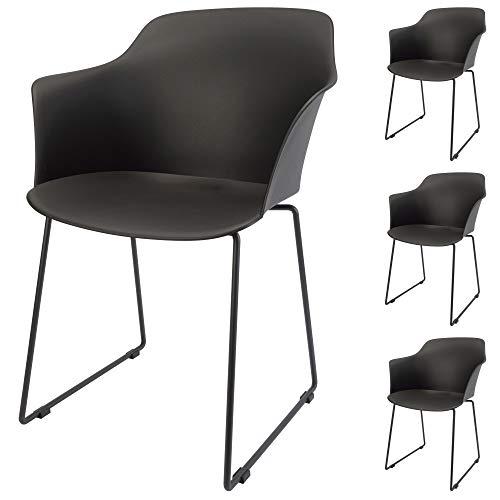 Cepewa Esszimmerstuhl 4er Set | Designerstuhl mit Metall Kufenfuß | Stuhl mit Armlehnen | stabile Kunststoffschale (schwarz ohne Polsterung)