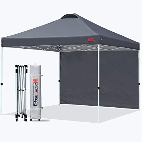 MASTERCANOPY Patio Pop Up Instant Shelter Beach Canopy with 1 Side Wall, Better Air Circulation Outdoor Canopy with Wheeled Carry Bag and 4 Sand...