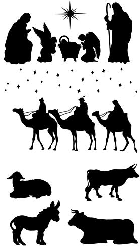 Vinilo Navidad. Portal de Belén. Facil de pegar y retirar sin dañar. Diferentes figuras navideñas. Reyes magos.