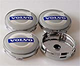 GONGXIFACAI Plata Azul Volvo 4 x 60 mm Tapacubos Cubierta de Rueda Llantas de aleación Emblema de Tapa Nuevo