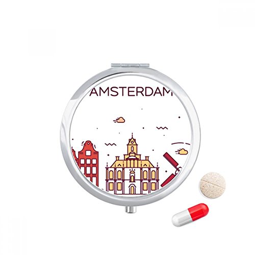 DIYthinker Amsterdam Flat Landmark Travel Pocket Pill case Medicine Drug Storage Box Dispenser Mirror Gift