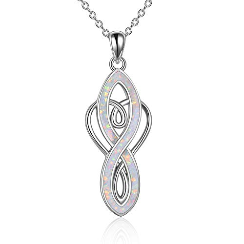 YFN Infinity Heart Celtic Knot Necklace Sterling Silver Opal Pendant Necklace for Women (White Opal)