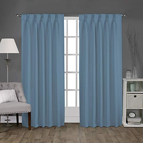 Magic Drapes Home décor 100% Polyester Double Pinch Pleated Blackout Window Curtain Panels & Drapes and Thermal Insulation Handmade (42x63, 2 Panels, Aqua Blue)