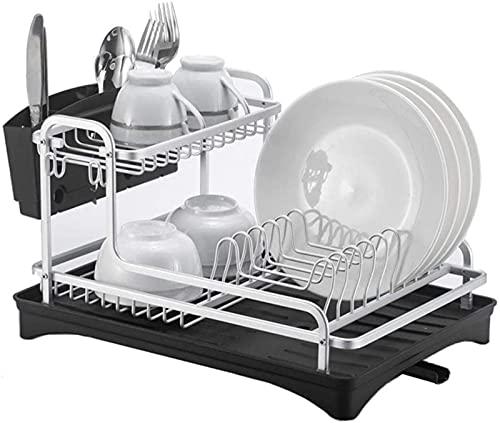 Rejilla para escurrir platos Rejilla para secar platos Rejilla para secar platos de aluminio de lujo 2 niveles con salida de boquilla giratoria de 180 °, con bandeja para escurrir platos, adecuado par