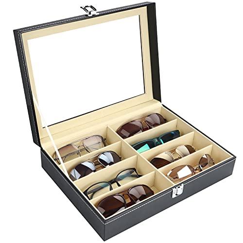 Kurtzy Sonnenbrillen Aufbewahrung Brillen Organizer Kunstleder – Brillenbox für Mehrere Brillen mit 8 Fächer – Brillen Box Verschließbar Schwarz für Sonnenbrille, Brillen, Schmuck für Damen und Herren