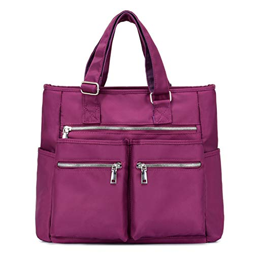 Womes's Nylon Bag Large Capacity Handbag Shoulder Bag Lightweight Casual Bag Shopping Bag(Size:40 * 15 * 35cm,Color:Purple)