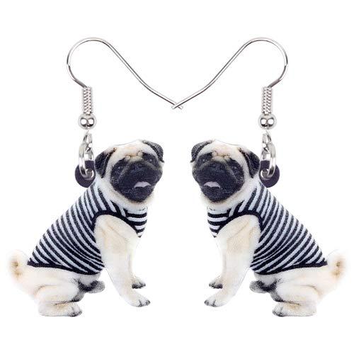 Dames Oorbellen Acryl Zoete Cartoon Vest Bulldog Pug Hond Oorbellen Draperen Mode Schattige Dieren Sieraden