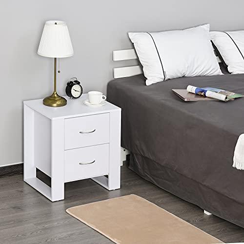 HOMCOM Mesita de Noche Elegante Mesa Lateral para Sofá Compacta Ideal Dormitorio o Sala de Estar con 2 Cajones Patas en Forma de Marco Estable Estilo Elegante 48x39x54 cm Blanco