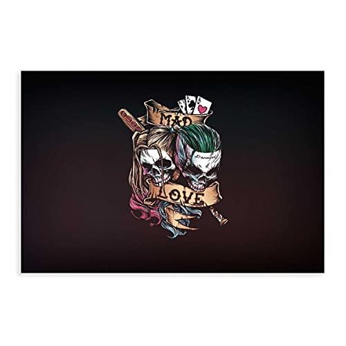 Joker, Arte, Joker, Harley Quinn, Harley Quinn, Crazy Love, Crazy Love, Mad Love Canvas Poster Decoración de dormitorio Deportes Paisaje Oficina Decoración Regalo 60 x 90 cm Unframe-style1