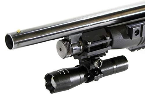 Trinity tactical flashlight with mount mossberg 500 remington 870 hunting strobe picatinny weaver base adapter 12 ga aluminum black single rail mount
