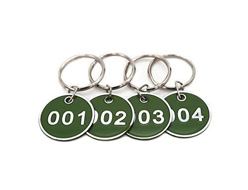 Schlüsselanhänger, Aluminiumlegierung, Metall, nummeriert, Nummern 1-50, 50 Stück 1 to 50 grün