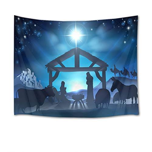 EOB Christian Tapestry Wall Hanging,Religious Jesus Nativity Scene Star of Bethlehem on blue sky Art Print Tapestry home decoration for Bedroom Living Room Dorm,80 W X 60 L Inches