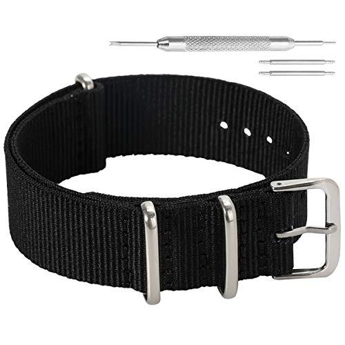 AUTULET 18mm sportiva nera militari alla moda durevole di nylon della bande cinturini stile sostituzioni per gli uomini