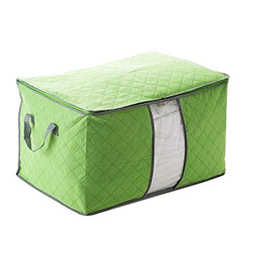 Surblue Bolsa de Almacenamiento Plegable para Ropa, edredón,Conjunto de Nueva Caja, Bolsa de Almacenamiento de Mano no Tejida, artículos para el hogar (60x42x36cm, Verde)