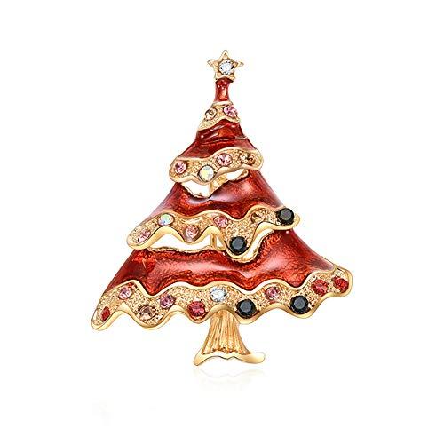 Da.Wa Due Colori Albero di Natale Spilla Gioielli in Lega Regalo di Natale Unisex Pin Clip Vestito Maglione Sciarpa Scialle Fibbia Pulsante Ornamenti Rosso