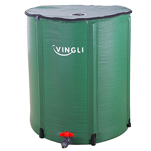 VINGLI 66 Gallon Collapsible Rain Barrel, Portable Water Storage Tank, Rainwater Collection System Downspout, Water Catcher Container with Filter Spigot Overflow Kit