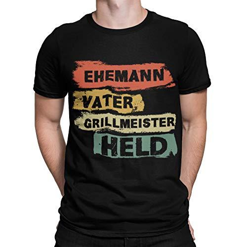 Herren Männer T-Shirt Papa Ehemann Vater Grillmeister Held Grillen Geburtstag Weihnachten (XL)