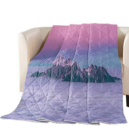 Buy Bargain T&H XHome Luxury Quilted Comforter Bedspread-Thin Soft Cozy,Snow Mountain Sunset Clouds ...