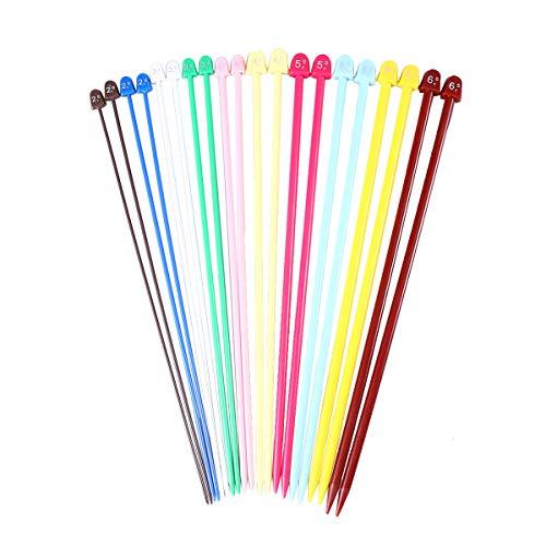 Supvox Agujas de tejer puntiagudas, largas y coloridas, de ganchillo largo, 25 cm, 10 pares