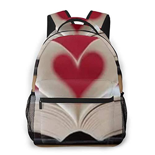 Lawenp Mochila Casual Multifuncional, Mochila de Moda, Mochila Linda 11.5 X 16 '' '' X 8 '' '' Páginas de Libro en Forma de corazón Fondo de Biblioteca 11