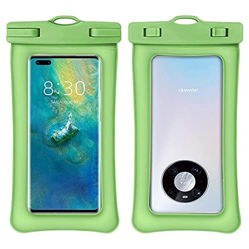 Tagge Funda impermeable universal, con accesorios para teléfono celular, brazalete y correa para el cuello, hasta 7 pulgadas, natación, kayak, esnórquel, viajes en la playa (verde)