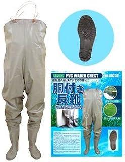 PVC胴付き長靴(品番:80230)カラー:ブラウン サイズ:L(26.0cm)【K】