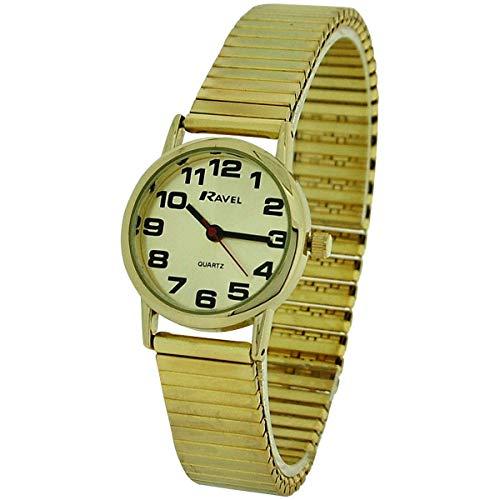 Ravel R0208.05.2 – Reloj de pulsera para dama color dorado, correa extensible de acero inoxidable
