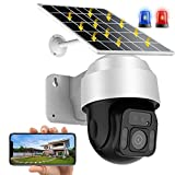 AINSS WiFi IP Cámara Vigilancia Exterior 2MP PTZ Cámara de Panel Solar con Batería Recargable de 12000mAh Mycam,Detección de Movimiento,Audio Bidireccional,Vision Nocturna,Impermeable (WiFi-Cámara)
