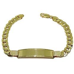 Never Say Never Herrenarmband aus 18-karätigem Gelbgold mit Schild, 1 cm breit, 20 cm lang, personalisierbar - Karabinerverschluss; 14,55 g; aus 18-karätigem Gold.